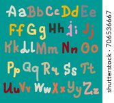 hand drawn alphabet. brush... | Shutterstock . vector #706536667