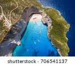 aerial  view of navagio beach... | Shutterstock . vector #706541137