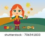 autumn kids vector. autumnal... | Shutterstock .eps vector #706541833