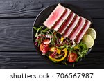 close up of rare seared ahi... | Shutterstock . vector #706567987