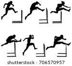 set athletics running hurdles... | Shutterstock .eps vector #706570957