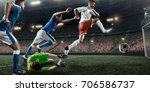 soccer player performs an... | Shutterstock . vector #706586737