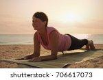 mature woman doing gymnastic...   Shutterstock . vector #706617073