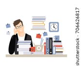 young tired businessman...   Shutterstock .eps vector #706626817