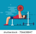 bench for bench press. a... | Shutterstock .eps vector #706638847
