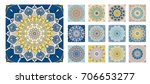 flower pattern tiles set.... | Shutterstock .eps vector #706653277