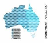 australia map of circle shape... | Shutterstock .eps vector #706668427