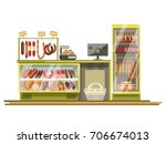 butchery sausages shop counter... | Shutterstock .eps vector #706674013