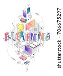 isometric concept with thin... | Shutterstock .eps vector #706675297
