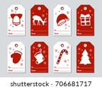 christmas and new year gift... | Shutterstock .eps vector #706681717