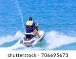 jet ski on the sea in kor samui ...   Shutterstock . vector #706695673