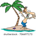 cartoon man on a deserted... | Shutterstock .eps vector #706697173