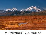 alaska's mount denali on a... | Shutterstock . vector #706703167
