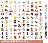 100 vogue school icons set in... | Shutterstock .eps vector #706710943