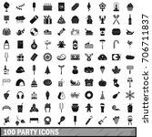100 party icons set in simple... | Shutterstock .eps vector #706711837