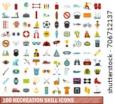 100 recreation skill icons set... | Shutterstock .eps vector #706712137