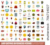 100 Eating Business Icons Set...