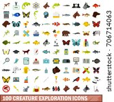 100 creature exploration icons...   Shutterstock .eps vector #706714063