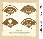 decorative fan collection on... | Shutterstock .eps vector #706718287