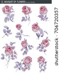 vector set with rose flower....   Shutterstock .eps vector #706720357
