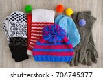 Autumn And Winter Clothes. Hat...