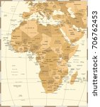 africa map   vintage detailed... | Shutterstock .eps vector #706762453