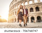 young couple at the colosseum ... | Shutterstock . vector #706768747