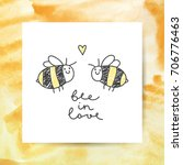 cute bees couple and... | Shutterstock .eps vector #706776463
