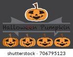 pumpkins emotions design cute...   Shutterstock .eps vector #706795123