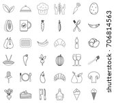 vegetarian icons set. outline... | Shutterstock .eps vector #706814563