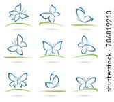 butterflies set. vector | Shutterstock .eps vector #706819213