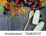 flat lay set up made of healthy ... | Shutterstock . vector #706820737