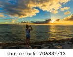 woman take picture sunset and... | Shutterstock . vector #706832713