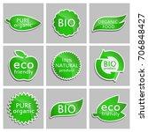 green sticker eco friendly  bio ... | Shutterstock .eps vector #706848427