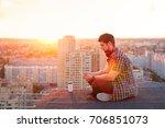 hipster man listening to music... | Shutterstock . vector #706851073