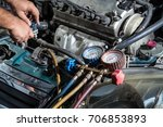 check car air conditioning... | Shutterstock . vector #706853893