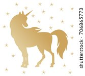 unicorn silhouette illustration.... | Shutterstock . vector #706865773