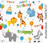 colorful birthday party... | Shutterstock . vector #706876717
