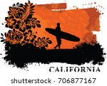sunset surfer | Shutterstock .eps vector #706877167
