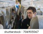 man on board the plane | Shutterstock . vector #706905067