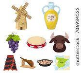 a set of pictures about spain.... | Shutterstock .eps vector #706934533