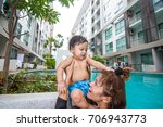 the kid and mom play together...   Shutterstock . vector #706943773