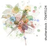 hibiscus flower   watercolor...   Shutterstock .eps vector #70695124
