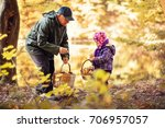 grandfather and granddaughter... | Shutterstock . vector #706957057
