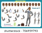 set of business man presenting... | Shutterstock .eps vector #706959793