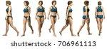 walking girl fitness in good... | Shutterstock . vector #706961113