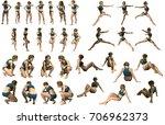girl woman fitness 3d rendering ... | Shutterstock . vector #706962373