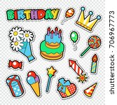 happy birthday party stickers ... | Shutterstock .eps vector #706967773