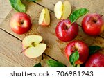 red apples or gala apples with... | Shutterstock . vector #706981243