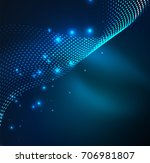 wave particles background   3d ... | Shutterstock . vector #706981807